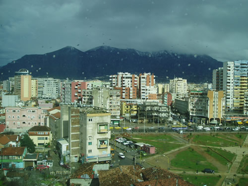 This is the view from my hotel in Tirana. It kind of reminds me of Denver with the mountains in the background behind the city.
