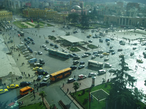This is Scanderbeg Square or just the Square to the locals. Its a main part of town that is supposed to be closed to pedestrians only in the future, but it doesnt look like that will happen anytime soon when you look at the traffic.